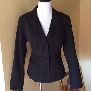 CABI sz 14 Eyelet 3-Button Blazer BLACK $179 NEW
